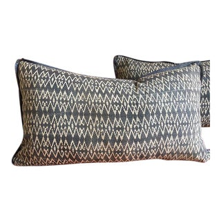 "Indigo Batik Hmong Textile Pillow with Linen - 23"" x 13"""