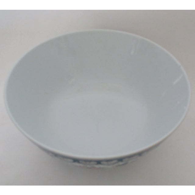 Chinese Green & Pink Floral Porcelain Serving Bowl - Image 5 of 7