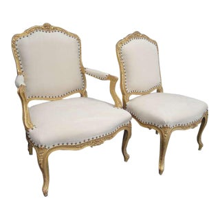 French Louis XV Style Gilt His and Her Chairs