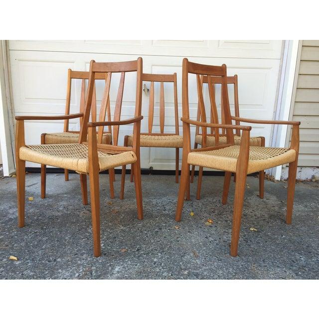 Danish Teak Dining Chairs W/Rope Seats - Set of 5 - Image 6 of 9