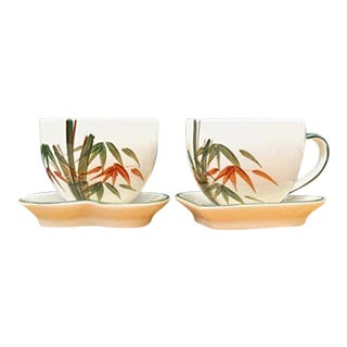 Bamboo Design Handmade Ceramic Coffee Cups & Saucers - a Pair