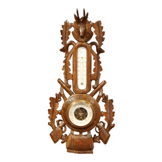 19th Century French Carved Walnut Black Forest Barometer with Deer Bird Rabbit