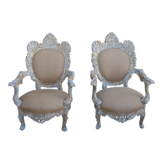 19th Century French Rococo Style Armchairs - A Pair