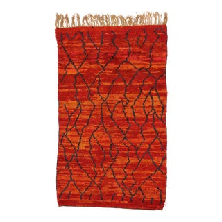 Red and Orange Vintage Berber Moroccan Rug, 5' x 8'