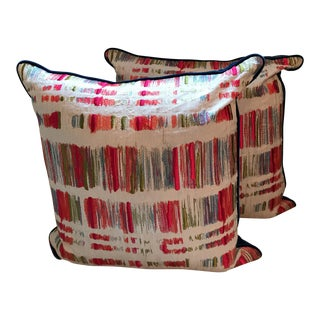 Designer Embroidered Colorful Pillow Covers - A Pair