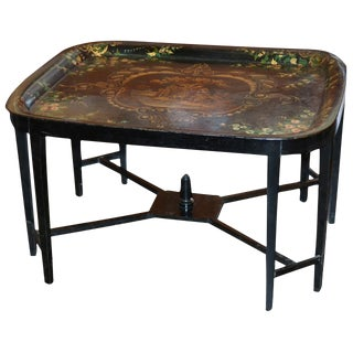19th C. English Tole Tray Cocktail Table