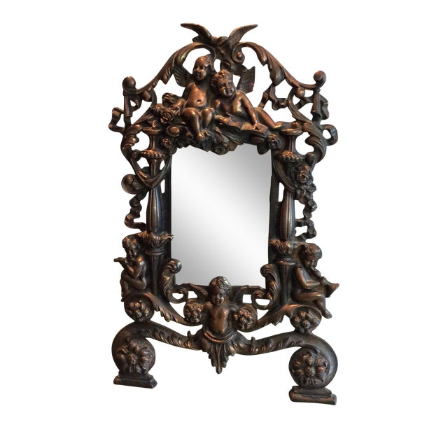 Antique Cast Iron Cherub Mirror - Image 1 of 11