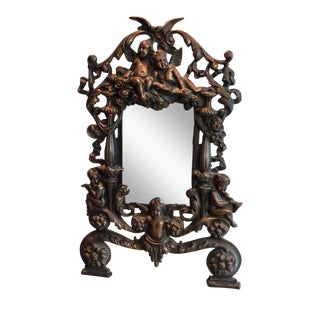 Antique Cast Iron Cherub Mirror