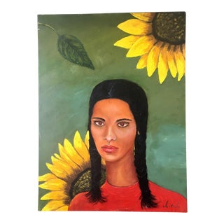 Oil Painting of Sunflower & Woman