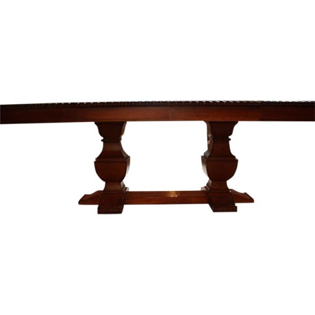 Double pedestal trestle dining table chairish for Pedestal trestle dining table plans