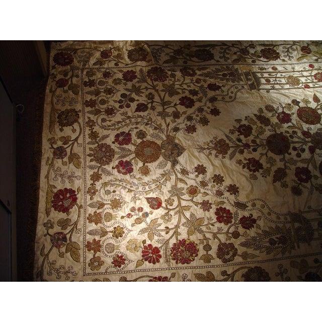 Large Ottoman Large Silkwork Textile Botanical Embroidery Hanging - Image 3 of 9