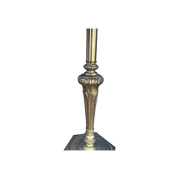Florentine Brass Floor Lamp With Tray - Image 4 of 5