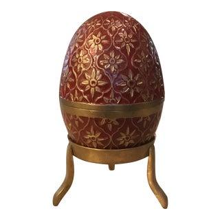 Brass & Enamel Egg Box on Stand