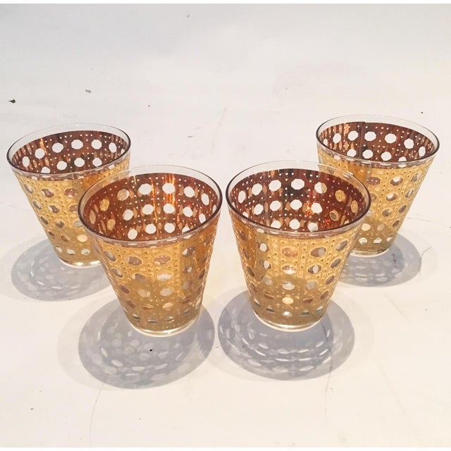 Image of Mid-Century Gold Etched Lowball Glasses - 4