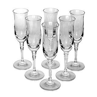 Vintage Lead Crystal Champagne Flutes - Set of 6