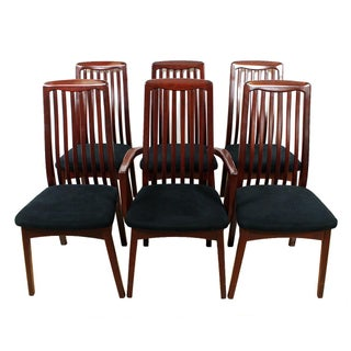 Danish Modern Slatted Back Dining Chairs - Set / 6