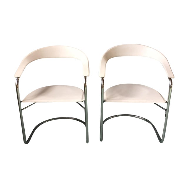 Image of Italian Leather & Chrome Cantilever Chairs - Pair