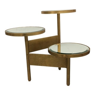 Worlds Away Colin Gold Leafed Three Tiered Mirrored Side Table