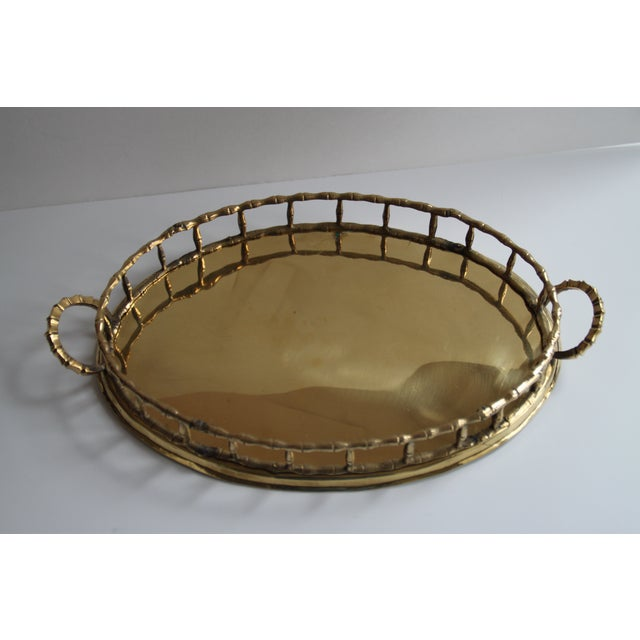 Oval Brass Faux Bamboo Tray - Image 2 of 5