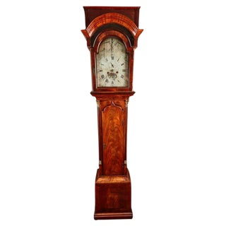 18th Century Mahogany English Flat Top Grandfather Clock by John Skinnier with a Silver on Brass Dial