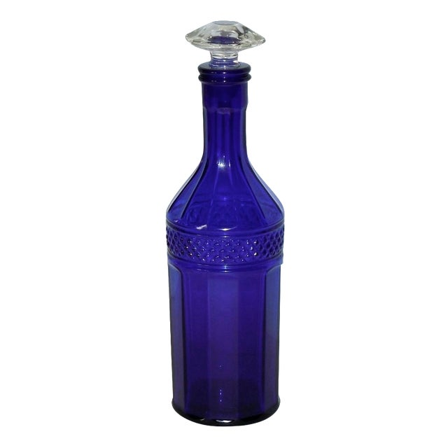 Image of Faceted Cobalt Glass Decanter
