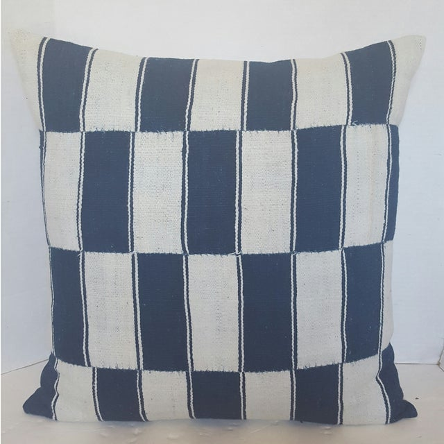 Checkerboard African Blue And White Pillows - Pair - Image 3 of 4