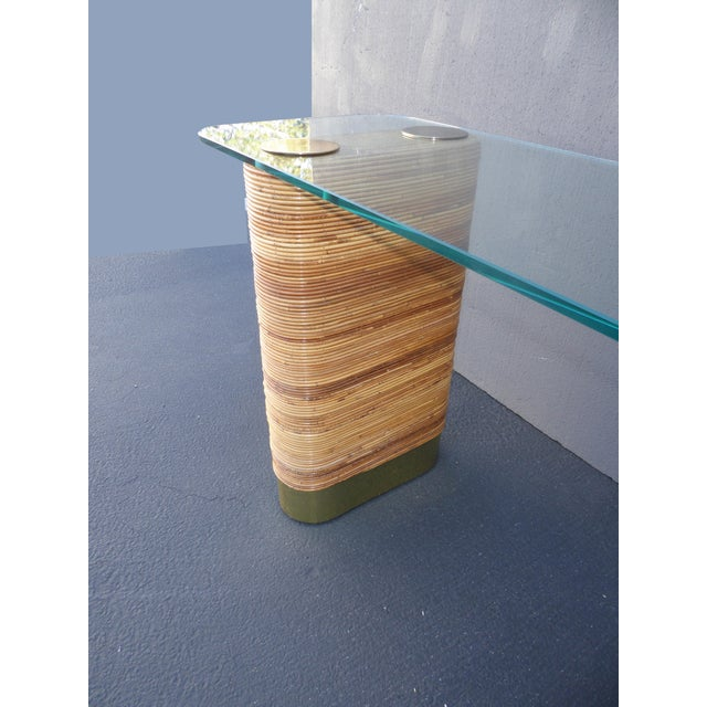 Vintage Mid-Century Double Pedestal Bamboo Rattan Wrapped Glass Top Console Table - Image 6 of 11