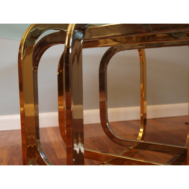 Vintage Chrome & Brass Glass Top Coffee Table - Image 5 of 8