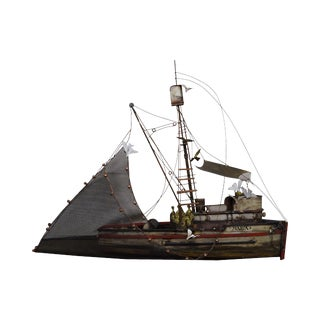 "Curtis Jere ""Maria"" Metal Wall Sculpture of Fishing Shrimp Boat"