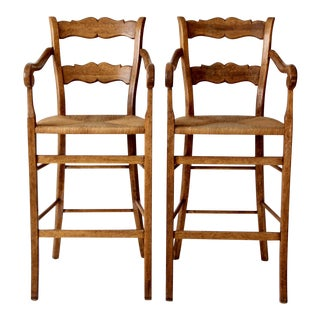 vintage high back counter stools with arms set/2