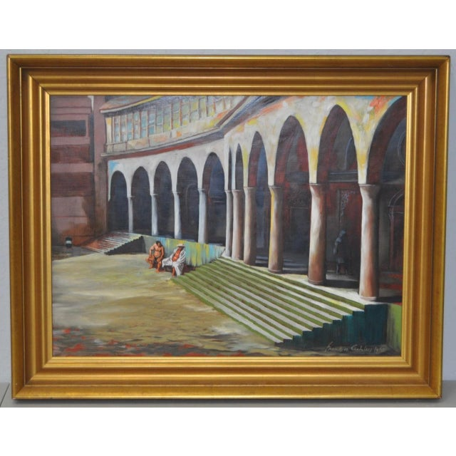 "Frank Ashley ""Facade at Santa Cruz"" Original Oil Painting - Image 2 of 11"
