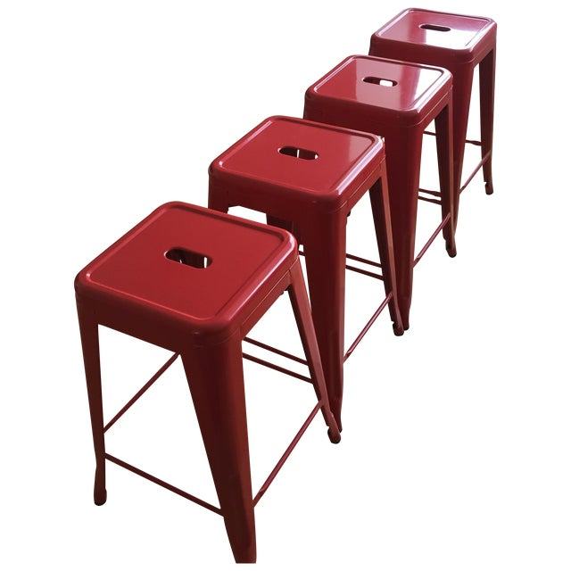Industrial Red Metal Counter Stools- Set of 4 - Image 1 of 4
