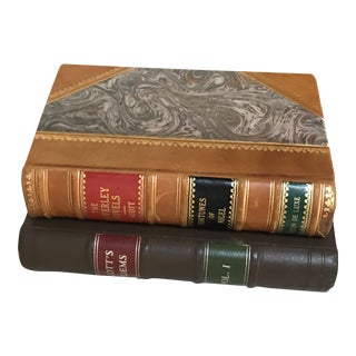 Brown Leather Book & Book Box - A Pair