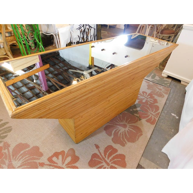 Vintage Mid-Century Split Reed Mirror Top Console Table - Image 5 of 10