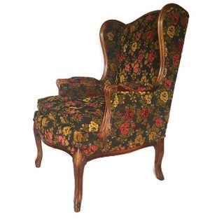 Vintage French Bohemian Wingback Armchair