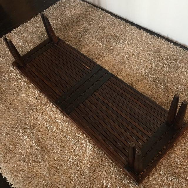Brown Saltman Mid-Century Expandable Slat Bench - Image 7 of 9