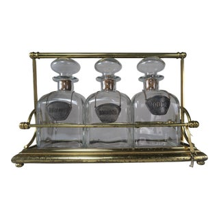 Pewter Labeled Glass Decanters on Brass Base- Set of 3