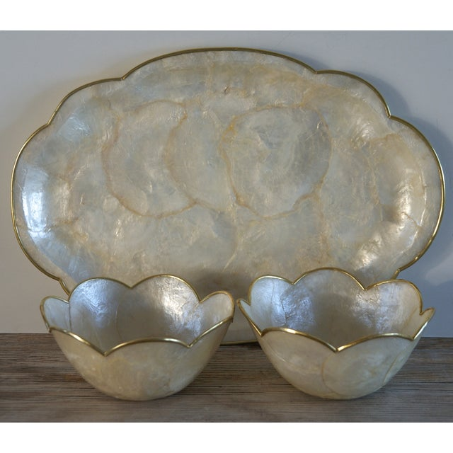 Capiz Shell Tray and Matching Bowls - Set of 3 - Image 2 of 6