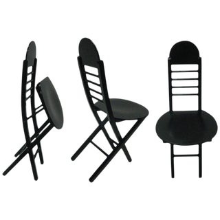 Set Of Three Black Lacquer Folding Chairs, 1970s