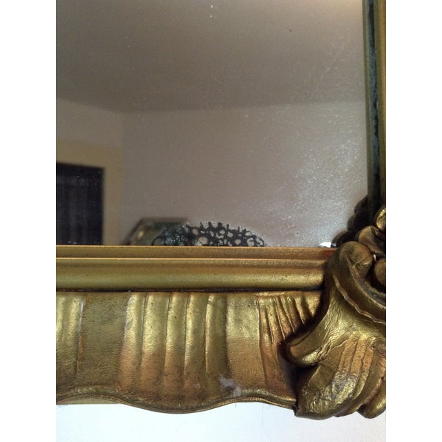 Image of Antique Gilded Crested Wooden Wall Mirror