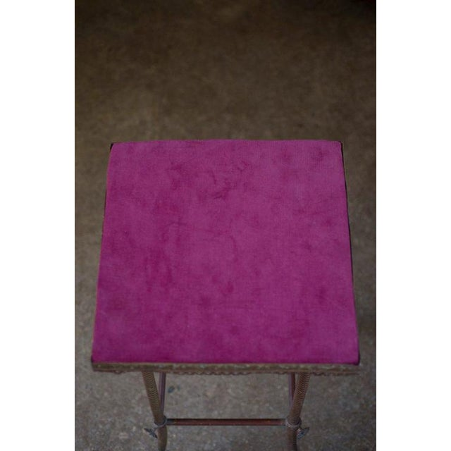 Antique 20th C. Altar Plum Velvet Table or Plant Stand - Image 6 of 9