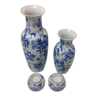 Chinoiserie Blue & White Vase Collection - 4 Pc.