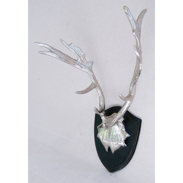 Faux Mounted Stainless Steel Deer Trophy Antlers - Image 6 of 7
