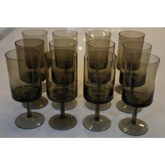 Mid-Century Smoke Glass Wine Glasses - Set of 12 - Image 2 of 8