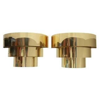 Vintage 1970s Art Deco Style Brass Sconces - A Pair