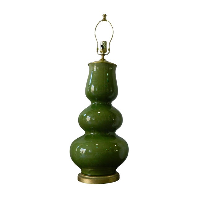 Triple Gourd Green Porcelain Lamp - Image 1 of 6