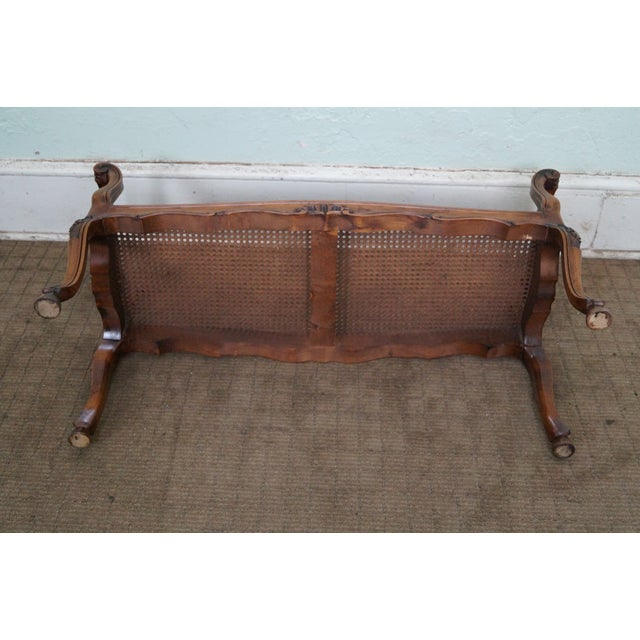 Italian Made French Louis XV Style Cane Seat Bench - Image 9 of 10
