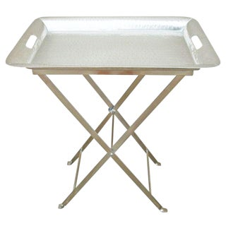 Silver Hammered Removable Tray Table