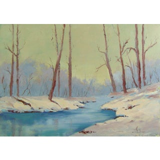Forest Stream in Winter Oil Painting