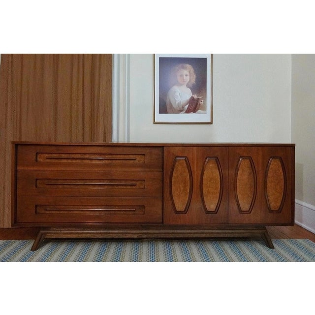 Mid-Century Sculpted Burl Inlay Dresser - Image 2 of 6